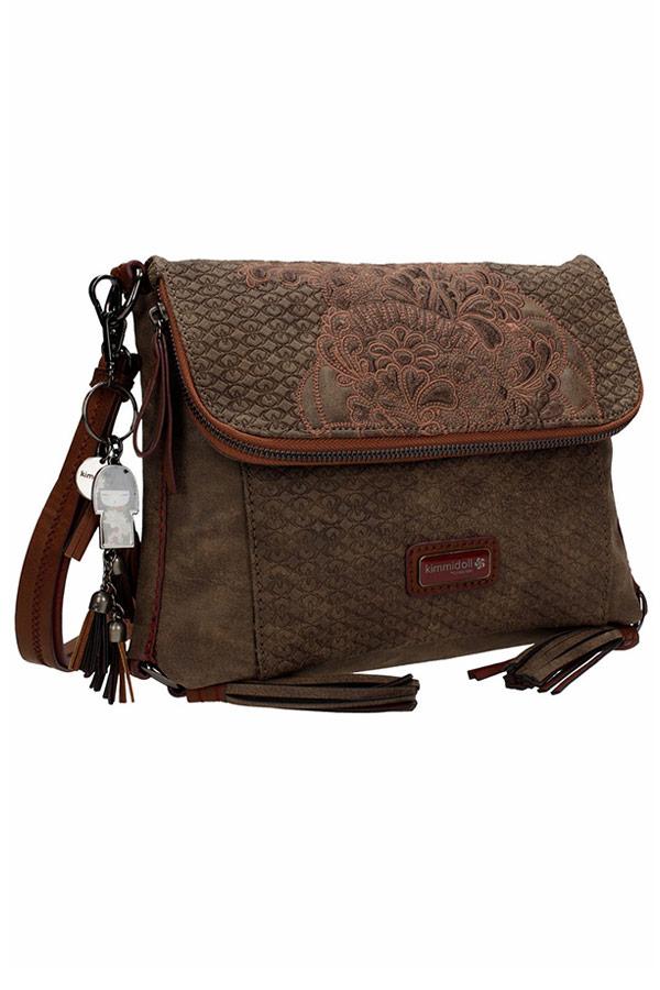 Kimmidoll Tatsumi 25622 Τσάντα ώμου με καπάκι καφέ Graffiti 24917