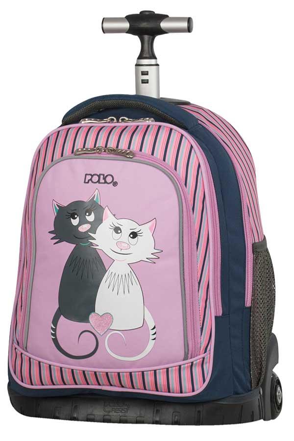 Σχολική τσάντα τρόλεϊ POLO BACKPACK BIKE γατούλες 90121816