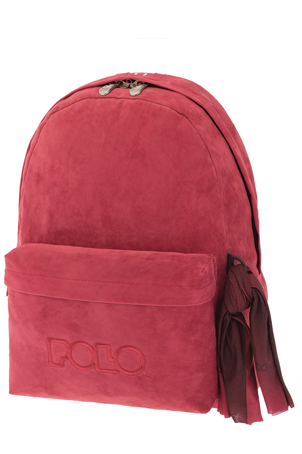 POLO BACKPACK Σακίδιο WITH SCARF VELVET κόκκινη 90113563