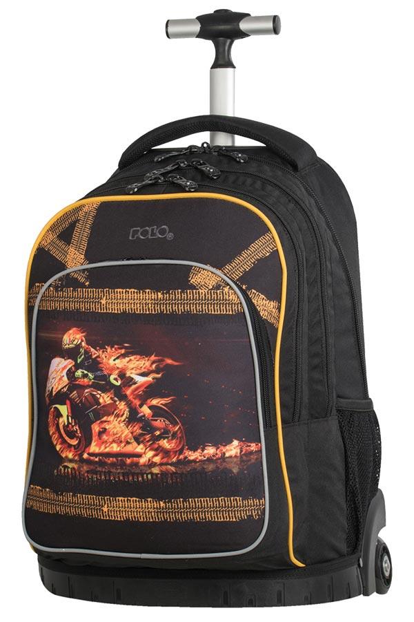 Σχολική τσάντα τρόλεϊ POLO BACKPACK SHARK φλεγόμενη μηχανή 90121702