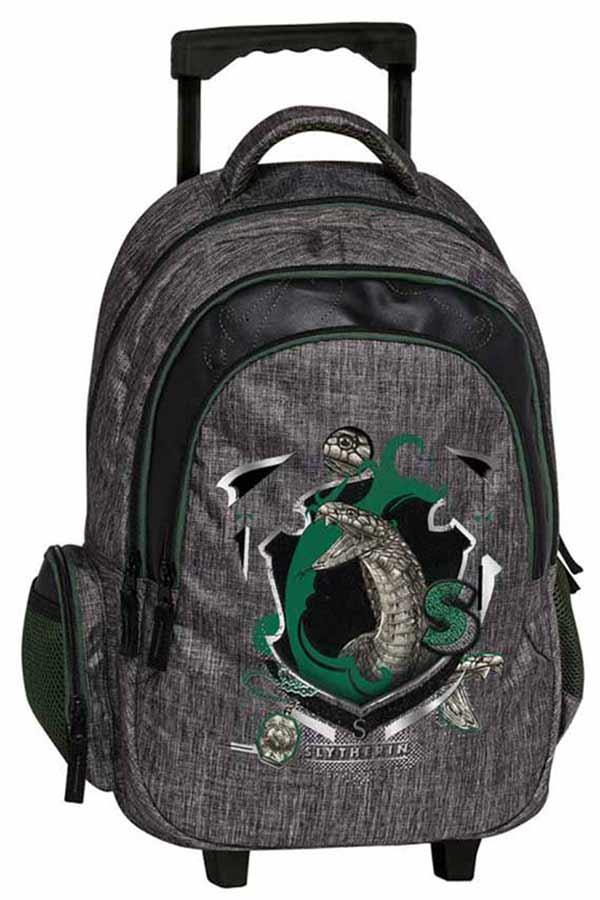 Harry Potter Σχολική τσάντα τρόλεϊ - Slytherin γκρι Graffiti 204252