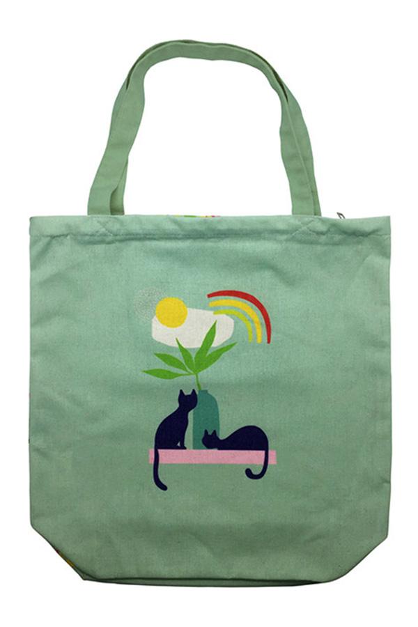 Τσάντα Shopping bag chat υφασμάτινη Kiub TOTC27A02