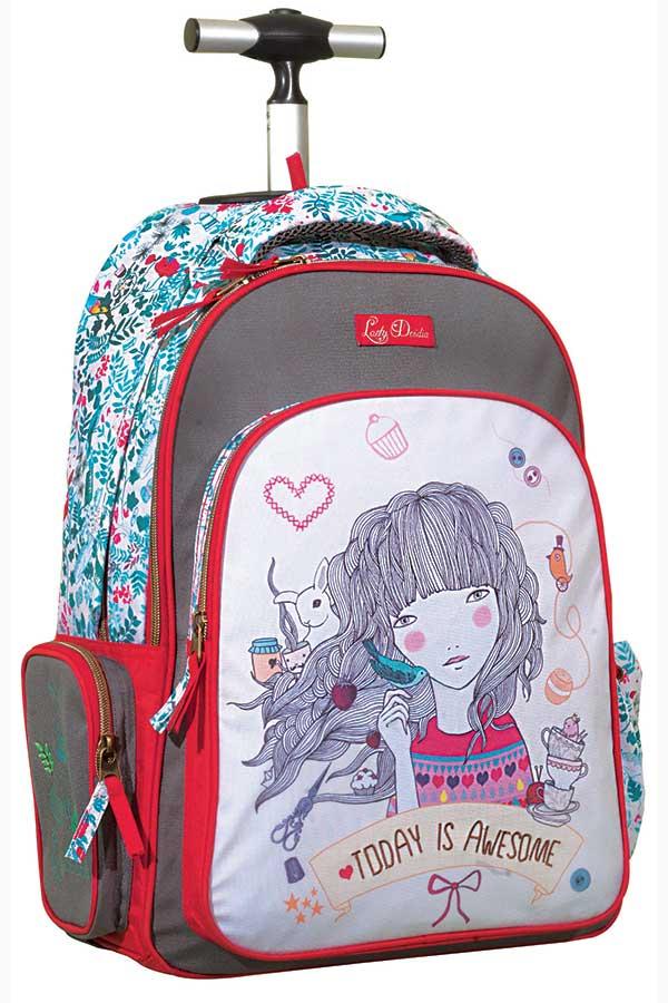Lady Desidia Σχολική τσάντα τρόλεϊ Strawberry Back me up 346-41074