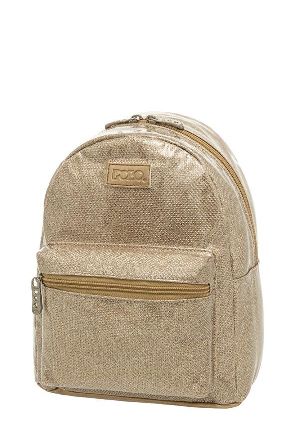 Σακίδιο mini POLO MINI QUEENA χρυσό glitter 9071598077