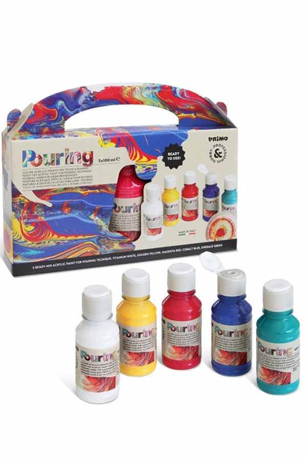 Ακρυλικά χρώματα για τεχνική Pouring 100ml Σετ 5 χρώματα PRIMO 4002P5S