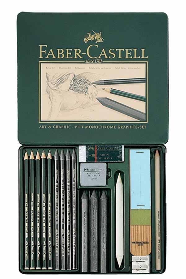 Σετ σκίτσου 18τμχ FABER CASTELL Pitt Monochrome Graphite set 112965
