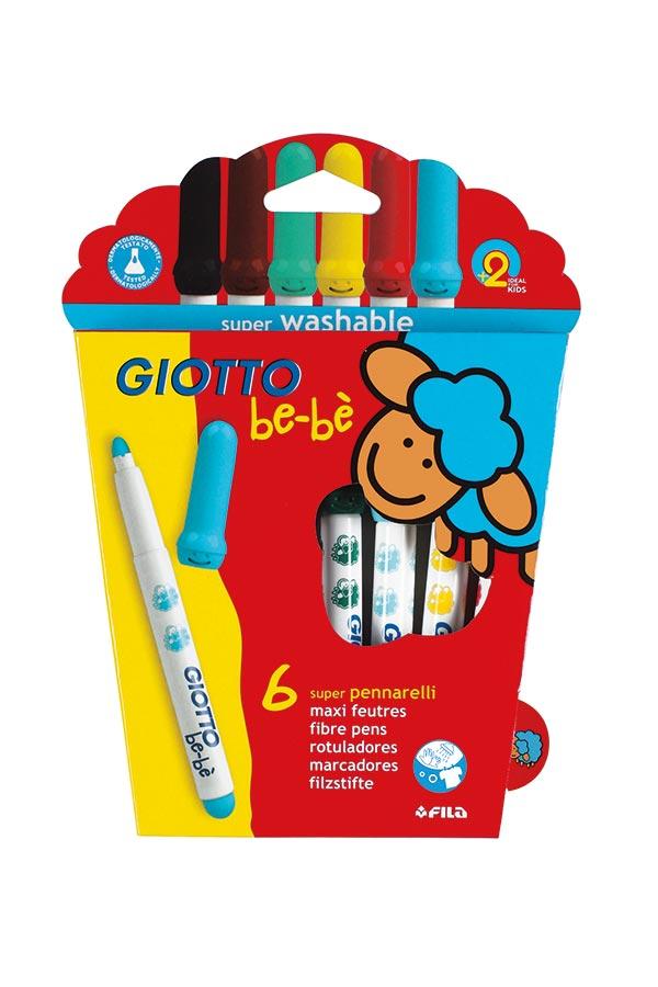 Μαρκαδόροι ζωγραφικής GIOTTO bebe super washable 6 χρωμάτων 466600