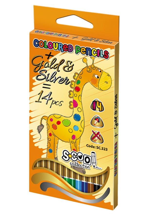 Ξυλομπογιές ζωγραφικής S.COOL 14 χρωμάτων με χρυσό και ασημί  SC.323