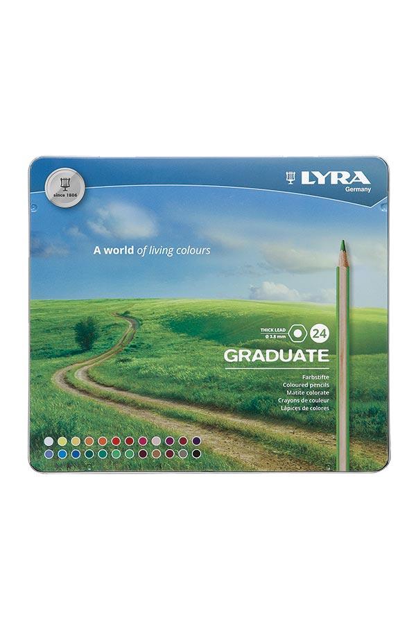 Ξυλομπογιές ζωγραφικής LYRA GRADUATE κασετίνα 24 χρωμάτων 2871240