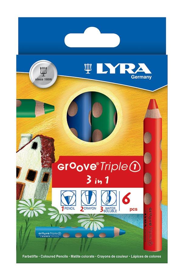 Ξυλομπογιές ζωγραφικής 6 χρωμάτων LYRA GROOVE Triple 3 in 1 3831060