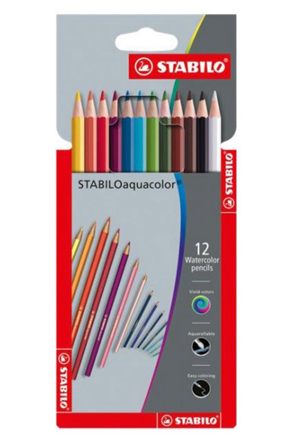 Ξυλοχρώματα νερού STABILO Aquacolor 12 χρωμάτων 1612
