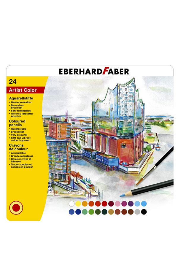 Ξυλοχρώματα νερού EBERHARD FABER 24 χρωμάτων σε μεταλλική κασετίνα 516025