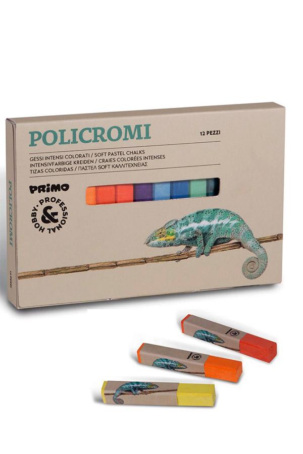 Ξηρά παστέλ POLICROMI 12 χρωμάτων PRIMO 020GC12I
