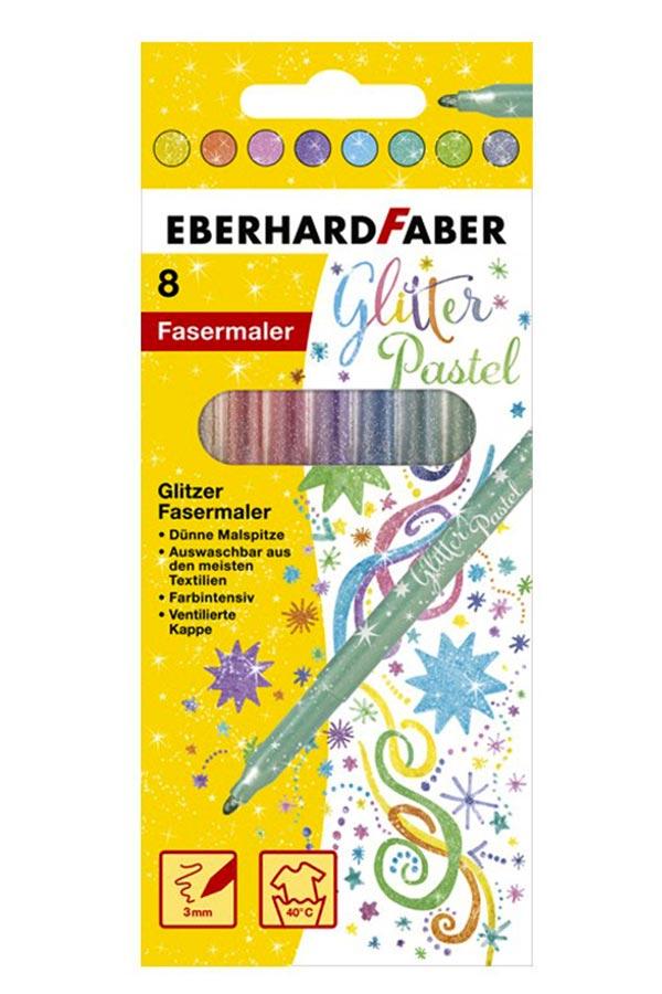 Μαρκαδόροι ζωγραφικής glitter pastel 8 χρωμάτων EBERHARD FABER 551009