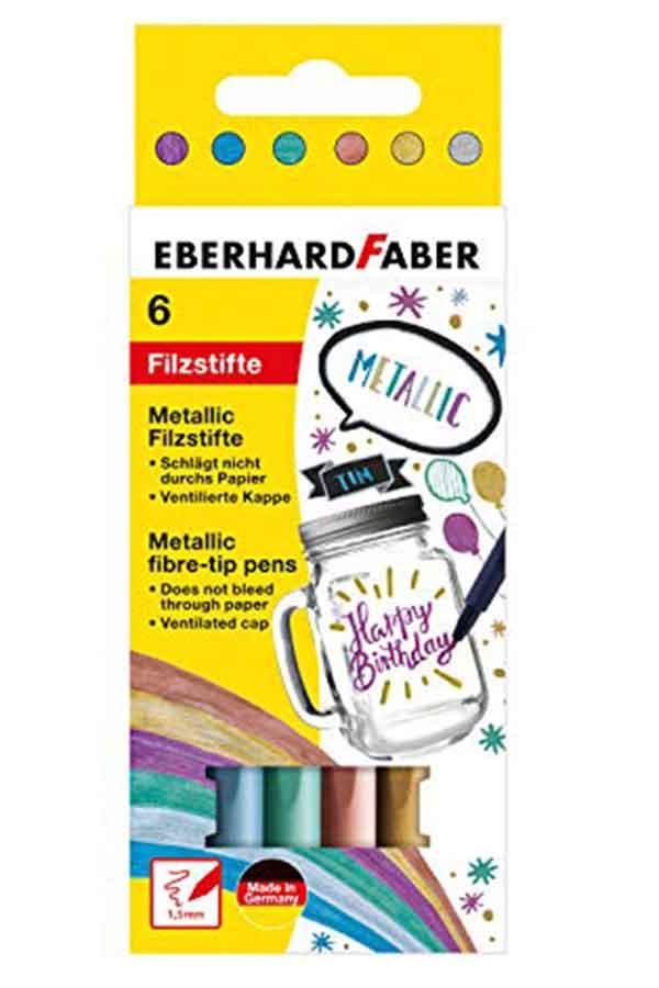 Μαρκαδόροι ζωγραφικής EBERHARD FABER Metallic 6 χρωμάτων 551006