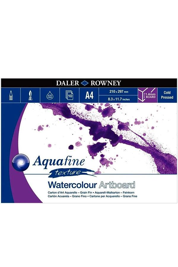 Μπλοκ με χαρτόνια ακουαρέλας 1,4mm Α4 Daler Rowney 21x29,7cm 10 φύλλων Aquafine texture 304601410