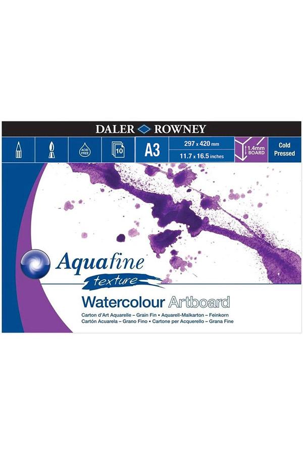 Μπλοκ με χαρτόνια ακουαρέλας 1,4mm Α3 Daler Rowney 29,7x42cm 10 φύλλων Aquafine texture 304601310
