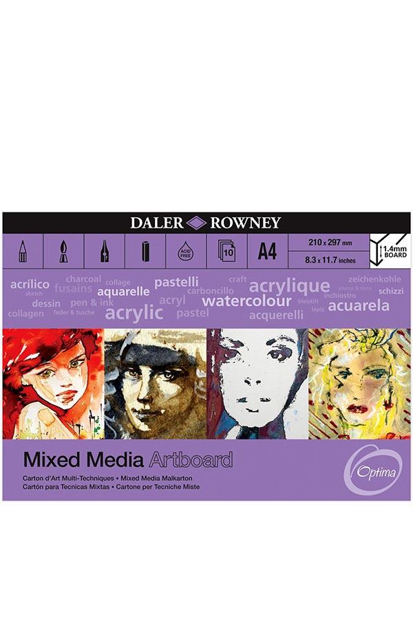 Μπλοκ με χαρτόνια 1.4mm Α4 Daler Rowney 21x29,7cm 10 φύλλων Mixed Media Artboard 304604410