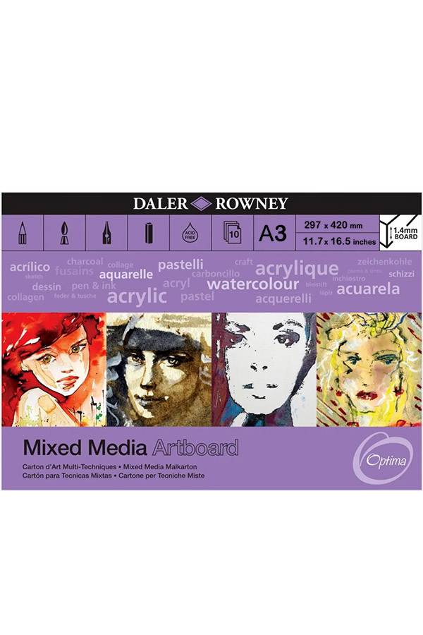 Μπλοκ με χαρτόνια 1.4mm Α3 Daler Rowney 29,7x42cm 10 φύλλων Mixed Media Artboard 304604310