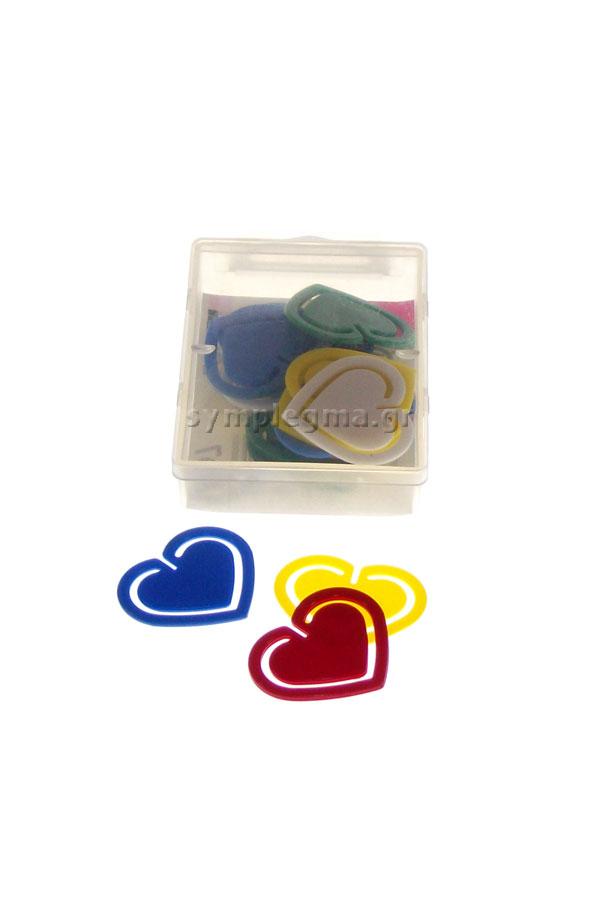 Συνδετήρες πλαστικοί χρωματιστοί Laurel σε σχήμα καρδιάς